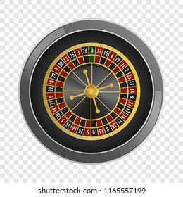 Top view roulette wheel casino mockup. Realistic illustration of top view roulette wheel casino mockup for on transparent background