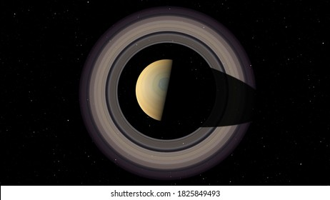 Top view of Saturn in space. Photo realistic 3D render of Saturn and stars.