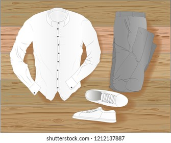 Top view set of fashion casual man`s clothing on brown wooden background. Flat lay illustration.