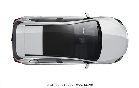 Top view of silver generic car