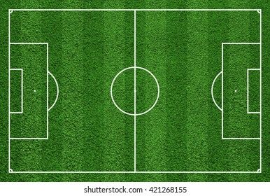 Top view of soccer field or football field grass green.