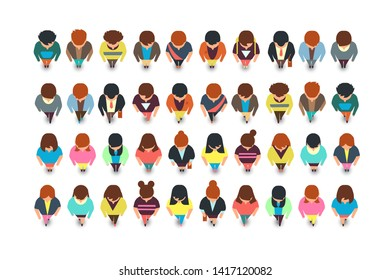 Top view standing people, cartoon man and woman collection isolated. Illustration of female and male character