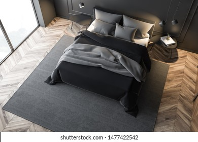 Top view of stylish master bedroom with gray walls, wooden floor, double bed with gray blanket and two bedside tables. 3d rendering