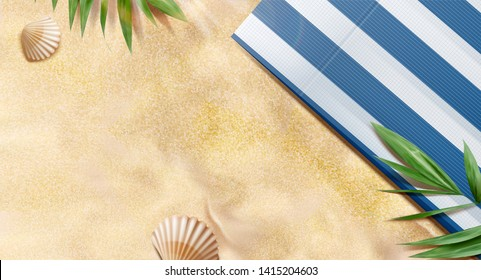 Top view summer beach with tropical plants and striped blanket in 3d illustration