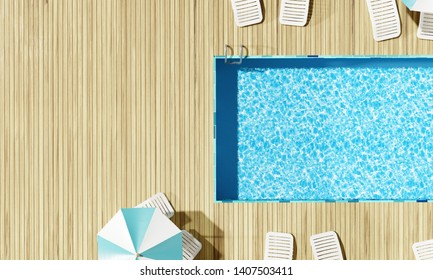 Top view Swimming pool with beach umbrella and chairs. Summer vacation concept. 3d rendering