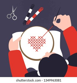 Top view of a table with cross stitching hands. illustration of sewing workshop. Creative craftwork lab template. Threads, scissors, hoops and other accessories for embroidery.