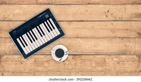 top view of a tablet pc with a piano app on wooden background, concept of music and technology, empty space at the right (3d render)