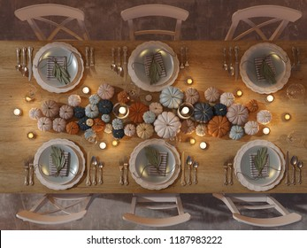 top view of a thanksgiving table setting. 3D rendering