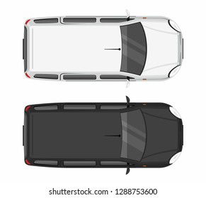 Top view Two minivan cars. White and black