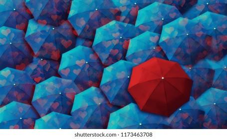 top view of umbrellas