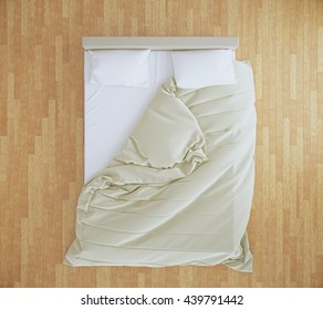 Top view of an unmade bed with beige blanket and white linens on brown wooden floor. 3D Rendering