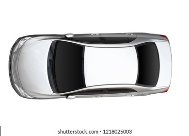 Top view of white car isolated on white background. With clipping path.