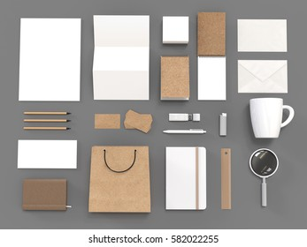 Top view of white and carboard blank corporate identity stationery set. Branding mockup. 3d rendering. Premium corporate identity template set of bag, envelope, card, folder, cup, pen, notebook etc.