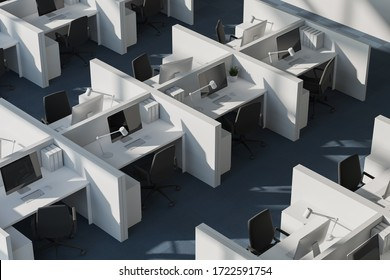 Top view of white cubicles in modern office with white walls and carpeted floor. Consulting company concept. 3d rendering