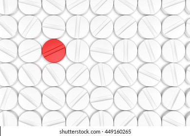 Top view of white medicine pills. One red medicine tablet is as a concept of a vaccine. 3d illustration