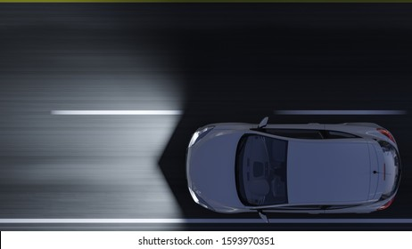 Top View of a White Sports Car Moving in the Dark 3D Rendering
