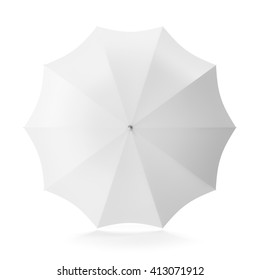 Top view white umbrella isolated on white background. 3D illustration