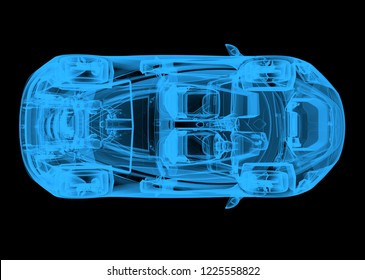 Top view of a wireframe blue car on a black background. 3d illustration