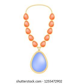 Topaz necklace mockup. Realistic illustration of topaz necklace mockup for web design isolated on white background
