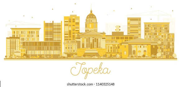 Topeka Kansas City Skyline Golden Silhouette. Business Travel and Tourism Concept with Modern Architecture. Topeka Cityscape with Landmarks.