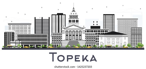 Topeka Kansas City Skyline with Gray Buildings Isolated on White. Business Travel and Tourism Concept with Modern Architecture. Topeka USA Cityscape with Landmarks.