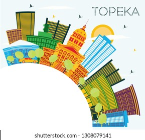 Topeka Kansas USA City Skyline with Color Buildings, Blue Sky and Copy Space. Business Travel and Tourism Concept with Modern Architecture. Topeka Cityscape with Landmarks.