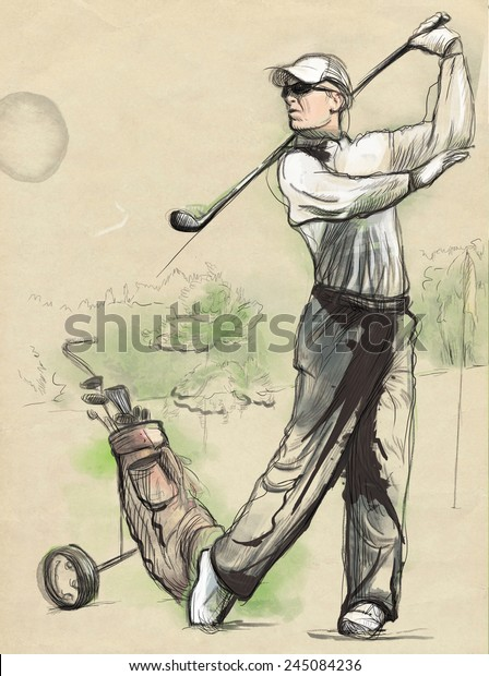 Single Continuous Line Drawing Of Young Happy Golf Player