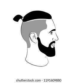 Topknot haircut fashion man sign with tail and beard