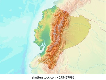 Topographic map of Ecuador with shaded relief and elevation colors. Elements of this image furnished by NASA.