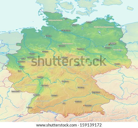 Topographic Map Germany Labels Derived Raw Stock Illustration ...