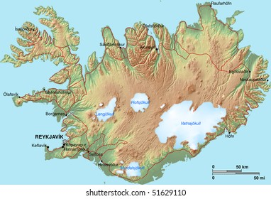 A topographic map of Iceland with shaded relief, hypsometric tints, settlements and glaciers.