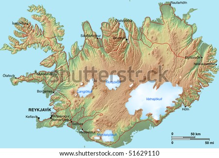 Topographic Map Of Iceland.Topographic Map Iceland Shaded Relief Hypsometric Stock Illustration
