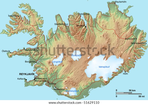 Topographic Map Iceland Shaded Relief Hypsometric Stock