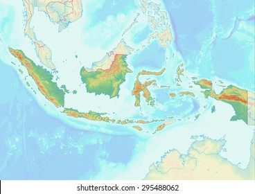 Topographic map of Indonesia with shaded relief and elevation colors. Elements of this image furnished by NASA.