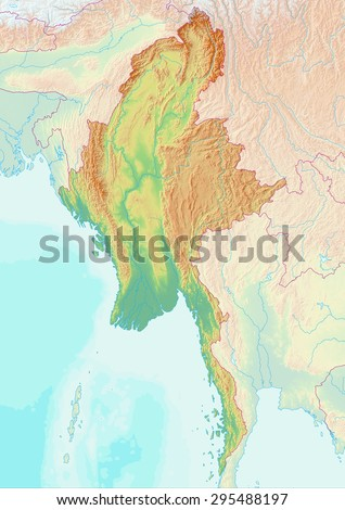 Honduras Topographic Map.Topographic Map Myanmar Shaded Relief Elevation Stock Illustration