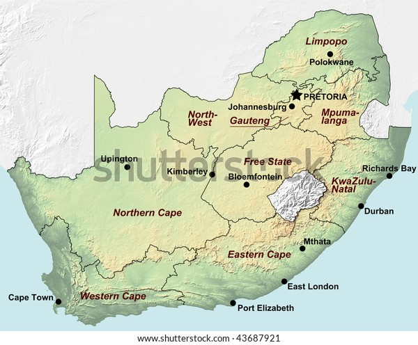 Topographic Map South Africa Shaded Relief Stock ... on topographic map west africa, topographical map of africa, elevation topographic map africa,