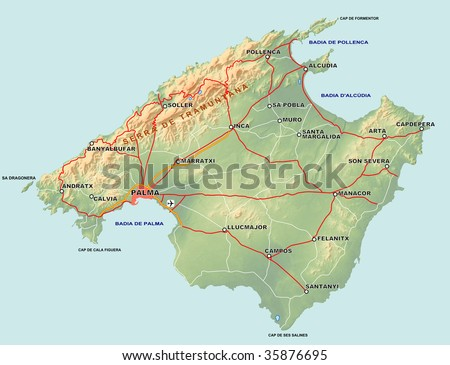 Topographic Map Spanish Island Mallorca Majorca Stock Illustration