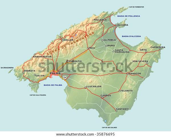 Map Of Spain And Mallorca.Topographic Map Spanish Island Mallorca Majorca Stock Illustration
