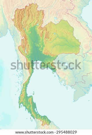 Thailand Topographic Map.Topographic Map Thailand Shaded Relief Elevation Stock Illustration