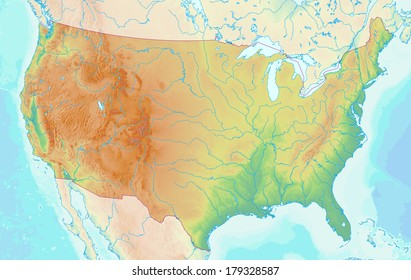 Topographic map of the USA with shaded relief and elevation colors. Elements of this image furnished by NASA.