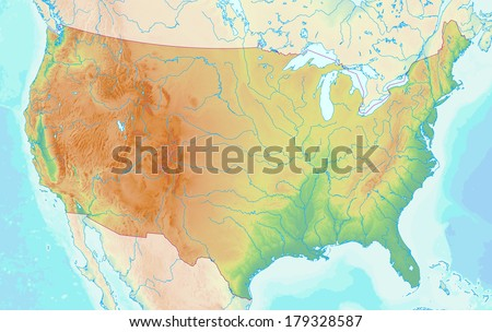 Topographic Map Of The Usa.Topographic Map Usa Shaded Relief Elevation Stock Illustration