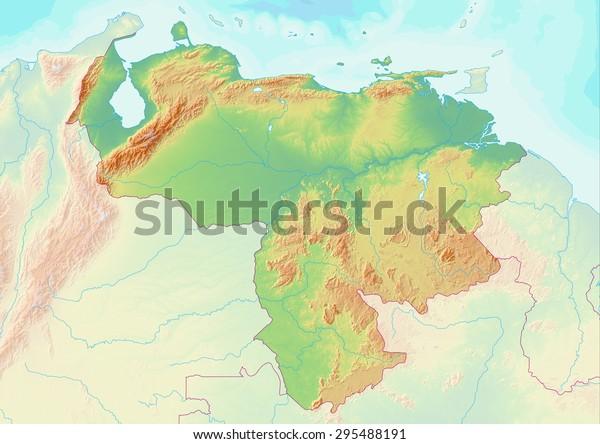 Topographic Map Venezuela Shaded Relief Elevation ...