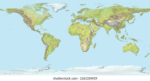 Topographic map of the world with borders, 3D render