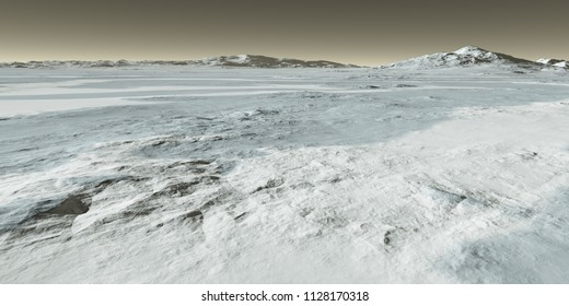 Topographic reveal as Martian seasonal polar thaw sublimates ice from underlying rocks - 3D Illustration