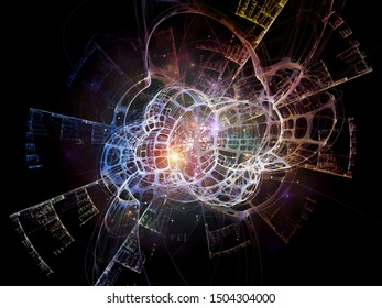 Topological three dimensional artificial structure in space. Illustration on the subject of technology, science, education and research.
