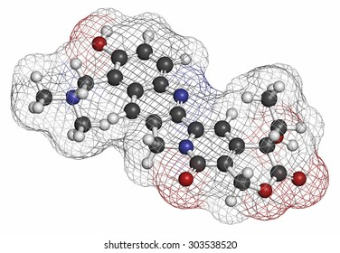 Topotecan cancer drug molecule (topoisomerase I inhibitor). Atoms are represented as spheres with conventional color coding: hydrogen (white), carbon (grey), oxygen (red), nitrogen (blue).