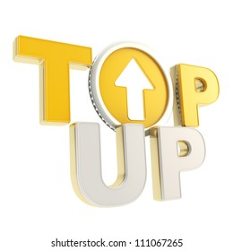 Top-up glossy emblem orange, chrome, golden icon with up arrow coin as a letter isolated on white