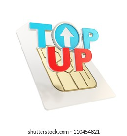 Top-up glossy emblem red and blue icon over sim card chip microcircuit isolated on white