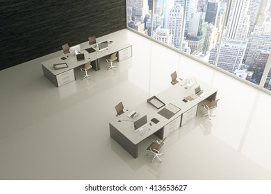 Topview of light grey office interior with glossy floor, city view and sunlight. 3D Rendering
