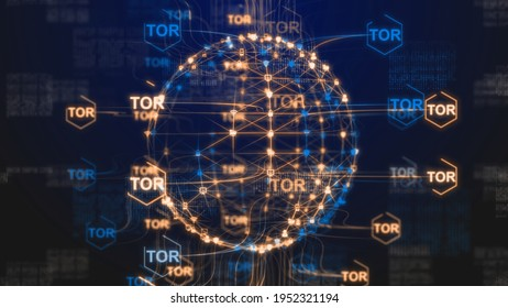 Tor anonymity network Internet privacy online data and identity protection - 3D Illustration Rendering